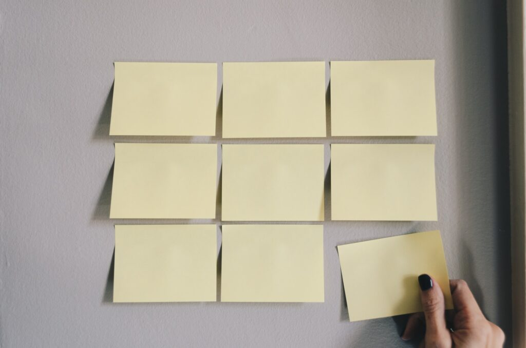 Post its, or sticky notes reminding you to form new habits for success