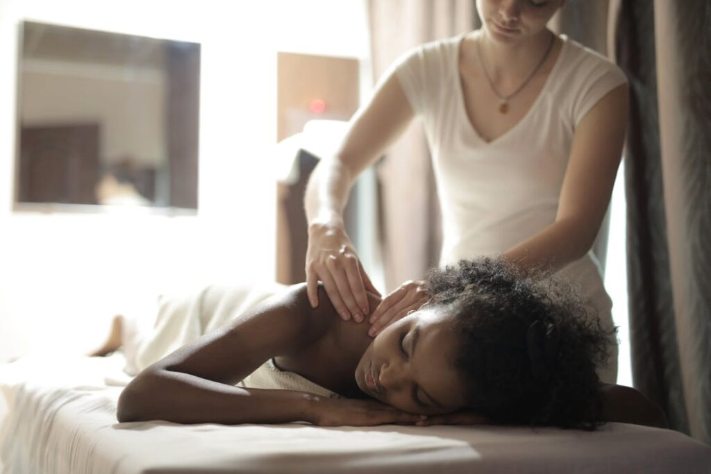 Woman getting a Massage at home